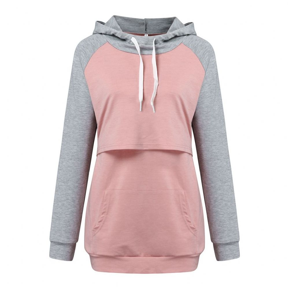 BREASTFEEDING HOODIE PINK & GREY WITH FRONT POCKET SIZES UK 10-18
